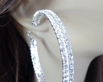Large 2.75 inch Double Row Crystal Hoop Earrings Silver Tone Rhodium Plated