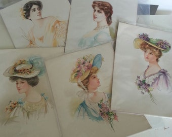 Five Gibson Girl Type Lithographs by The Gray Lith Co