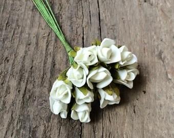 24pics Miniature Flowers, Foam Flowers, Miniature Foam Roses, Tiny White Flowers, Small Foam Flowers, Wedding Findings, Craft Supplies