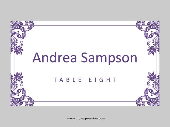hochzeit tischkarten vorlage gefaltet lila damast. Black Bedroom Furniture Sets. Home Design Ideas