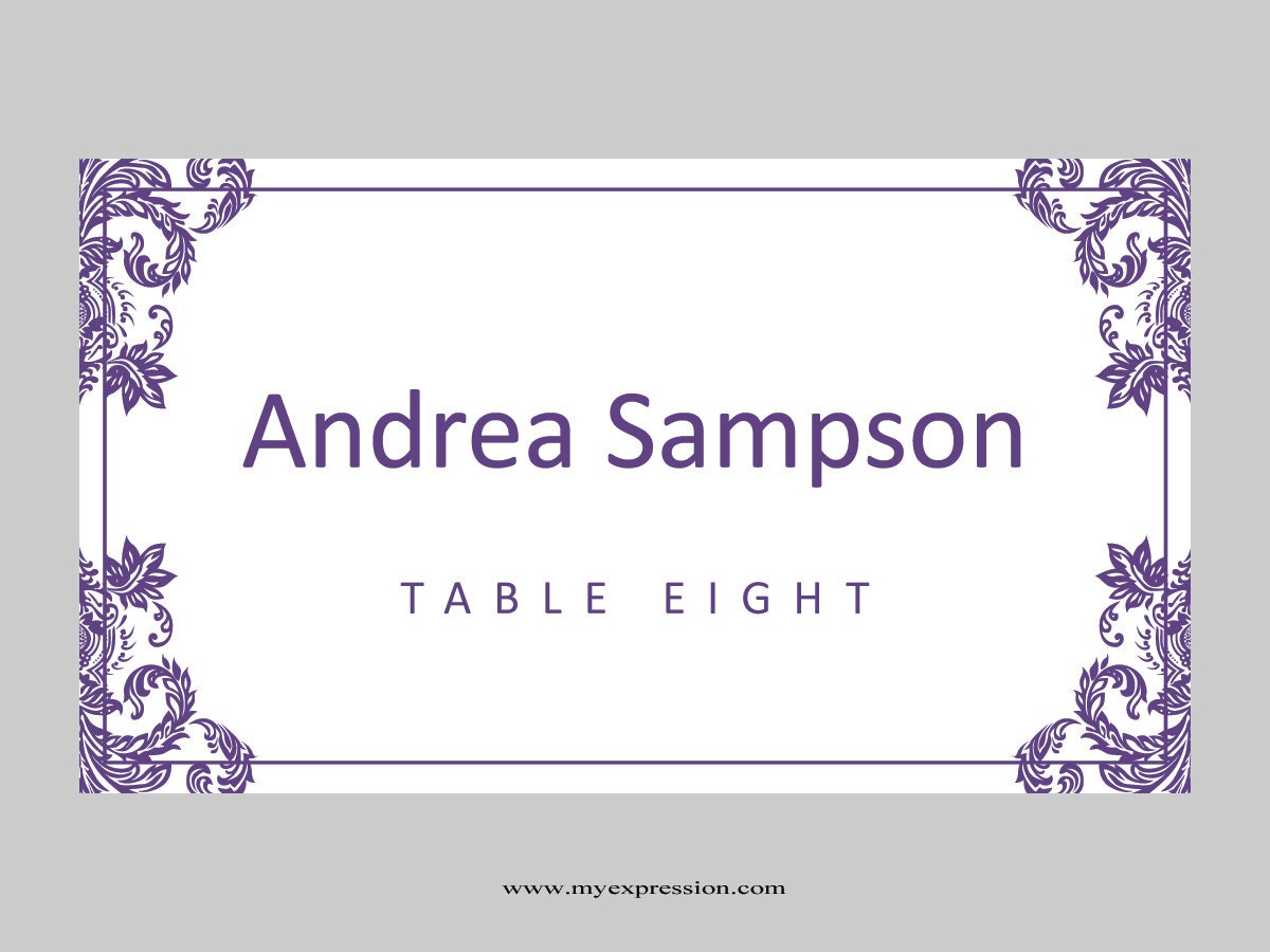 Wedding Place Cards Template Folded Purple Damask