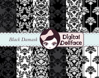 Black Damask Digital Paper, Black & White Floral Scrapbook Paper Pack