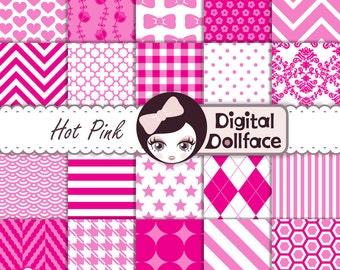 Hot Pink Digital Paper Set, Pink Scrapbook Paper Pack, Instant Download
