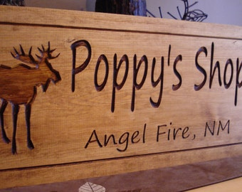 Personalized Wood Carved Plaques Rustic Carved Signs Wood Cabin Lodge Camp Signs Cabin Sign Moose Grandpa Poppy's Shop Benchmark Signs