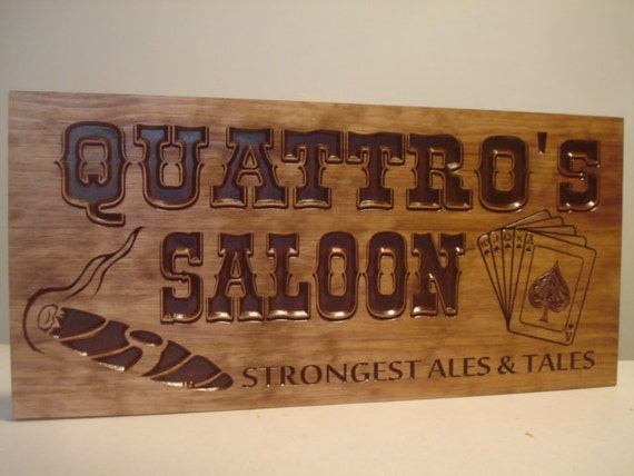 Gifts For Man Cave Bar : Personalized wood carved bar sign man cave beer brewery