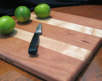 Cutting Board, 12 x 12, Cherry and Maple, Five Star General, Wedding Gift, Housewarming Gift, Anniversary Gift, Birthday Gift or Fathers Day