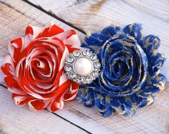 Red White and Blue Headband, 4th of July,  Military Homecoming - Military Ceremony - Patriotic Headband, hard headband, hair bows