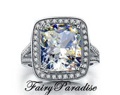Art Deco 8 Ct (11mm* 13 mm ) Cushion Cut Man Made Diamond Halo Engagement Ring, Right Hand Ring, Statement Ring (FairyParadise)