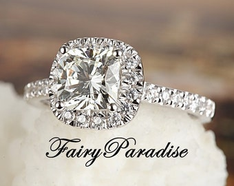 1 carat Halo Cushion Cut Engagement Ring, Man Made Diamond in 925 silver, Pave Band, Promise Ring - Free gift box ( FairyParadise )