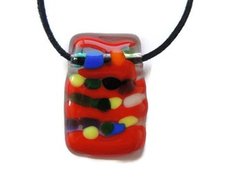 fused glass necklace,red glass pendant necklace, rectangle fused glass necklace, red fused necklace, red and other colors fused necklace