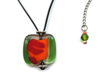 Fused glass necklace, rectangle glass pendant necklace, green red orange fused necklace, green red orange fused glass pendant
