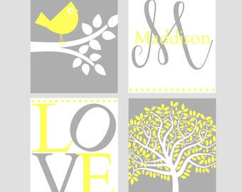 Bird Nursery Print Set - Yellow Gray Nursery - Girl's Nursery Decor - Custom Nursery Wall Art - 4 piece Print Set