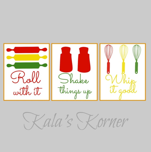 Kitchen Art Kitchen Wall Art Print Set Roll With It Whip