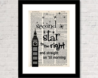 Second Star To The Right And Straight On Til Morning Peter Pan Big Ben Dictionary Art Print Poster Wall Art