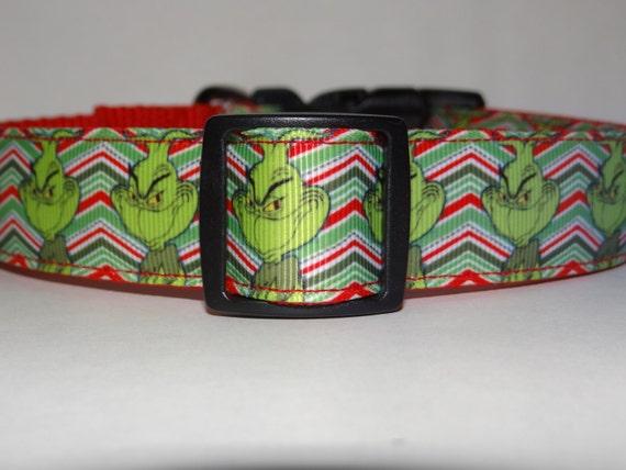 Chevron Print Grinch Dog Collar