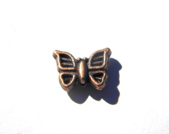 6 Copper Butterfly Beads
