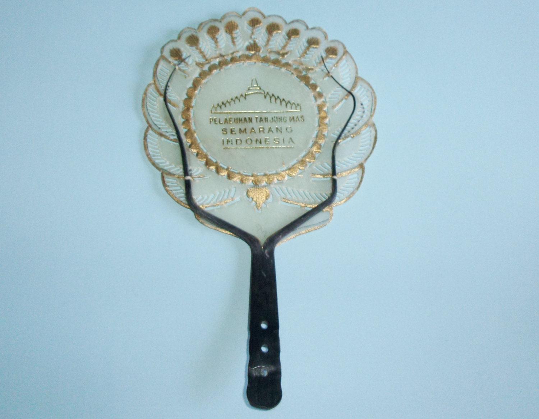 Vintage Indonesia Souvenir Hand Fan Made Of Animal Hide Skin