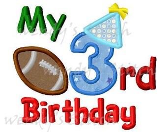 My 3rd football birthday applique machine embroidery design
