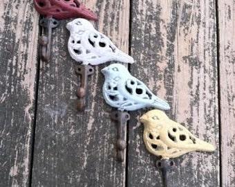 Bird Hook - Adorable Heavy Duty Cast Iron Bird Hook Available In Multiple Colors