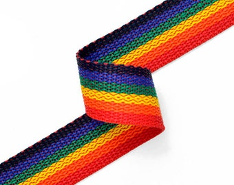 Rainbow polypropylene webbing, 1inch by 1 Yard, JUL-140123
