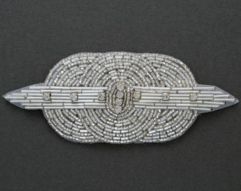 "Rhinestone Beaded Applique, Beaded patch, Bridal Applique, 5-1/2"" x 2-1/4"", FF-174"