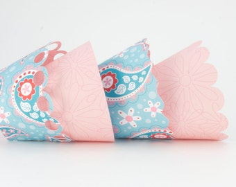 Double Sided Cupcake Wrappers, Blue Paisley Pattern and Pink (12)