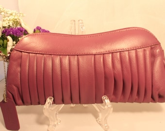 Barneys's NYC Purple, Pantone color of the year Leather Wristlet /  CLUTCH,signed,and MINT!