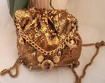RARE/hard to find , limited edition by designer LUIGI BRIGLIA Vintage / One of a kind Petite Mesh pouch /bag with Charms .Gorgeous!!
