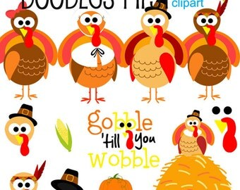 Gobble Gobble Thanksgiving Turkey Digital Clip Art for Scrapbooking Card Making Cupcake Toppers Paper Crafts