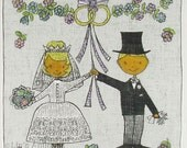 Vintage Bride and Groom Wedding Just Married Hanky Handkerchief (Inventory #M3919)
