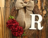 Hydrangea Wreath with Monogram - Monogrammed Wreath - Initial Wreath - Wreaths - Door Wreath - Year Round Wreath