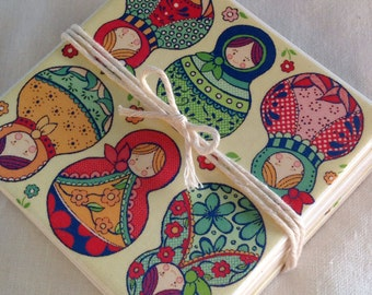 Ceramic Tile Coasters -  Babushka Doll Style 033