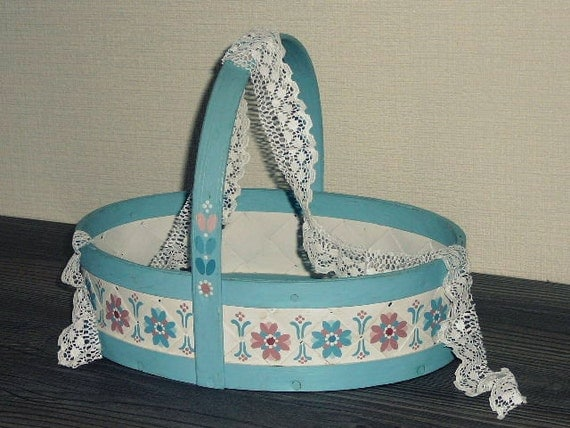 Vintage wicker light blue white Basket Rustic woven Swedish home decor Hand painted Scandinavian design Floral Design @60