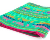 Green tribal runner, Table cloth, Table Runner, Bohemian Decor, Bohemian Chic, Aztec, Tribal, green with tribal details.
