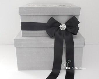 Wedding gift card box / Wedding card box / Wedding money box / Wedding card holder / 2 Tier (Silver/Light grey & Black)