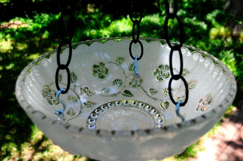 White Glass Vintage Hanging Bird Feeder Bird Bath Garden