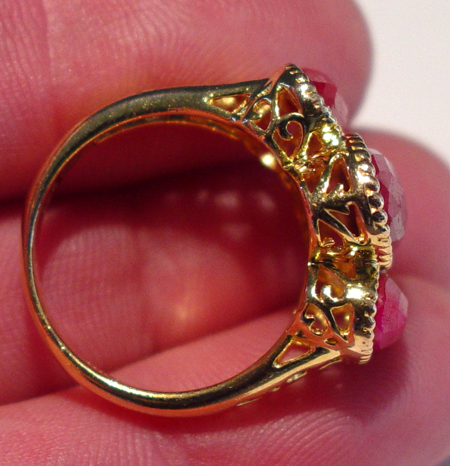 Large Vintage Designer LIRM Israel Sterling Silver Vermeil FACETED Raw RUBY Past, Present Future Filigree Stack Band Ring