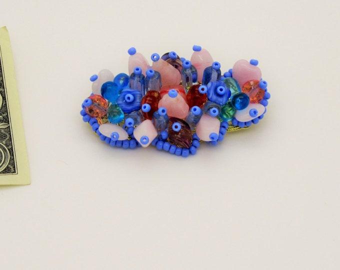 Hand Made Brooch Fruit Basket Czech Seed Glass Beads