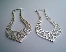 Sterling Silver Filigree Hinged Hoops, Large Hoops Unique Hoops