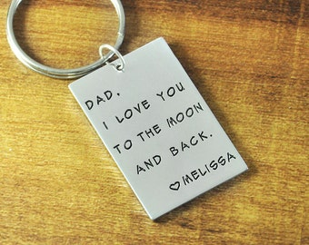 FREE Shipping personalized Keychain, alloy rectangle key chains,custom any words, hand stamp key chain, Gift for Father's day
