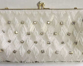 Rhinestone Beaded Clutch Purse, Vintage White Satin Lining, Small Size, Metal Snap Opening (Box D)