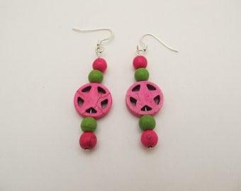 Hot Pink & Green Star Earrings
