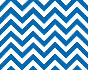 Blue chevron craft  vinyl sheet - HTV or Adhesive Vinyl -  royal and white large zig zag pattern   HTV94