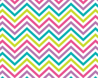 Lime, teal, orchid and hot pink chevron craft  vinyl sheet - HTV or Adhesive Vinyl -  zig zag pattern  HTV127