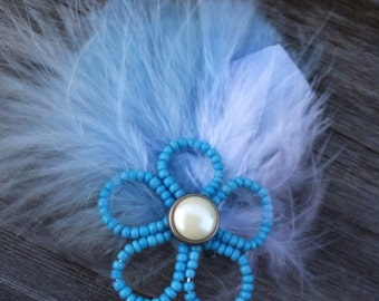 Handmade Blue Beaded Flower and Feathers Hair Clip Accessory/Fascinator Made w/ Lovely Blue and White Feather and Beautiful Blue Seed Beads