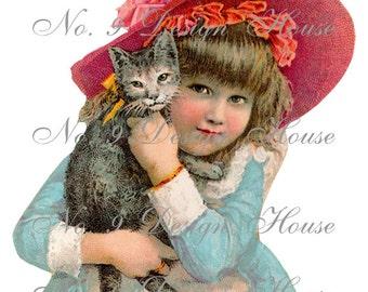 Digital Download, ACEO, Vintage Digital, Digital Girl and Cat, Digital Collage, Scrap Booking, French Digital,Transfer Images, Printable