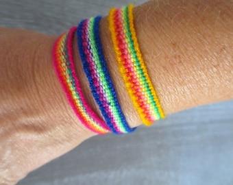 Three Peruvian Rainbow Friendship Bracelets