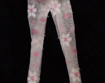 BT821 Pink Sheer Floral Tights for Blythe Dolls