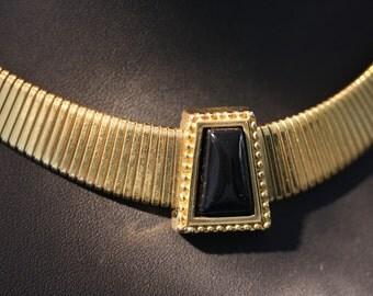 Elegant Vintage Monet Onyx Omega Choker