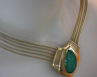 Vintage Trifari Jade glass cabochon choker